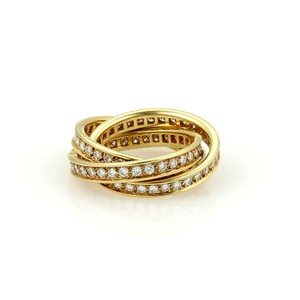 Cartier Cartier All Diamond Trinity 18k Yellow Gold Band Ring French Marking