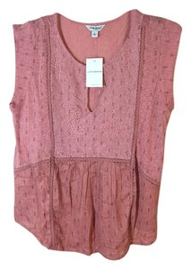Lucky Brand Soft Roomy Top dark apricot and black