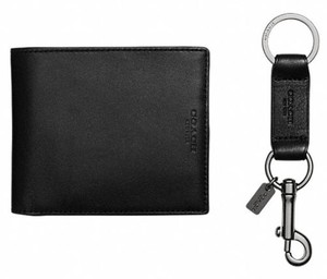 Coach Coach F64118 Compact ID Black Wallet In Sport Calf Leather Gift Set