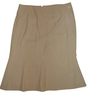 Chanel Fit & Flare Silk France Skirt Beige