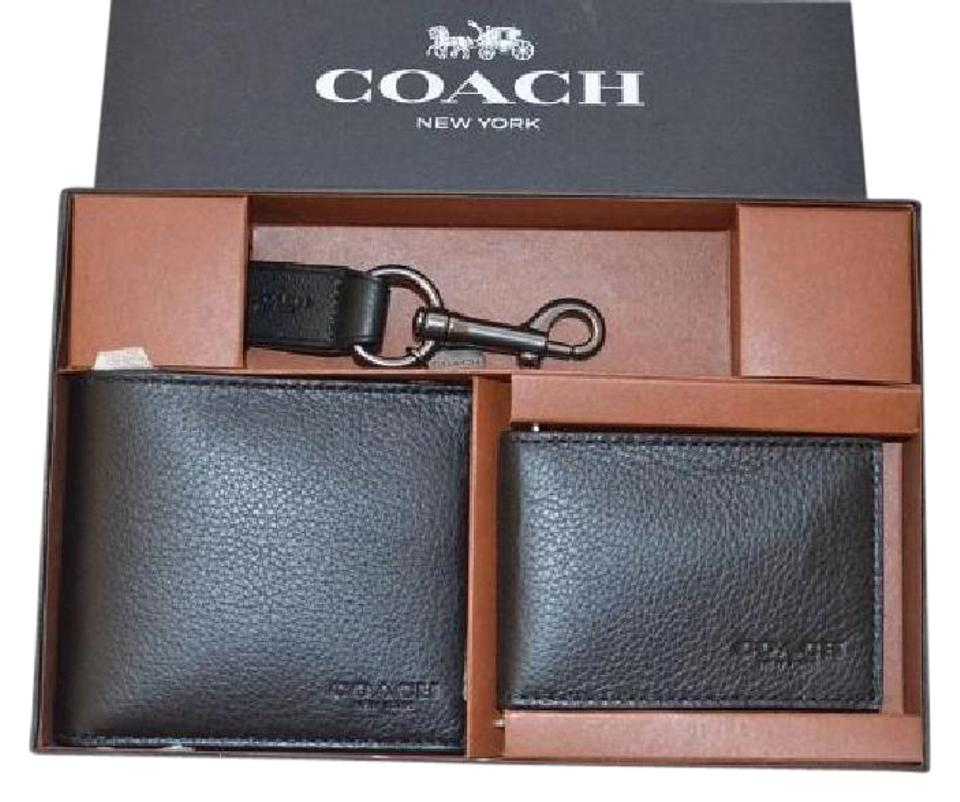 fc72e41fb3b55 Coach Black F64118 Compact Id In Sport Calf Leather Gift Set Wallet ...