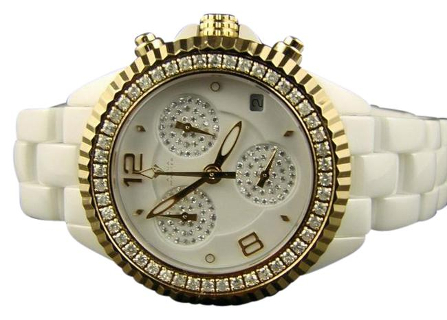 Item - White Cermaic Case and Band Finish White Dial with Illusion Subdials Jojo Techno Kc Diamond 1.25 Ct Watch