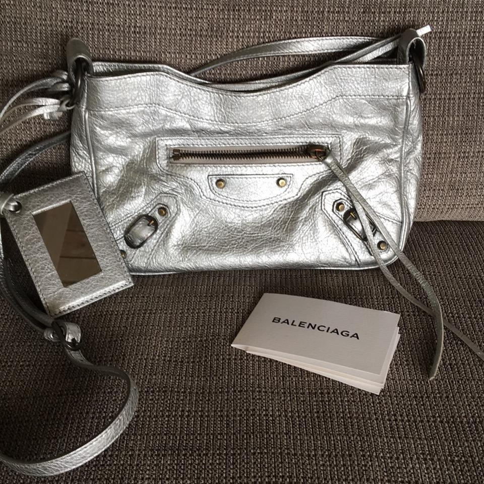e8d0d2677748 Balenciaga Classic Hip Shoulder Silver Leather Cross Body Bag - Tradesy
