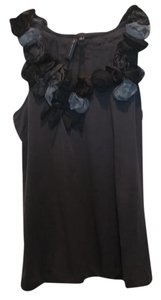 one.september Top dark grey with black, dark gray and blue flowers. From Antrho.