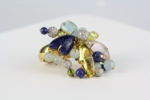 VASARI ITALY VASARI 18K YLW GOLD MULTI COLOR GEMSTONE & 1.26ct DIAMOND FLOWER RING