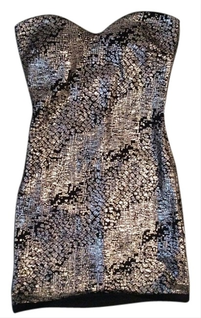 Tracy Reese Black Metallic Mini Sexy Party Vegas Fitted Sweetheart Strapless Dress