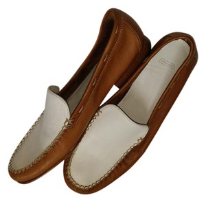 Coach Loafer Tan and White Flats