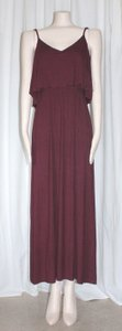BURGUNDY Maxi Dress by Matty M Summer Layered Rayon