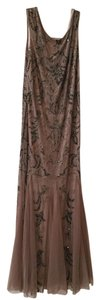 Adrianna Papell Taupe With Dark Grey Beading Adrianna Papell Beaded Evening Gown Dress