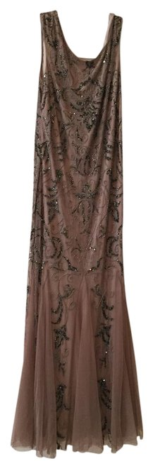 Item - Taupe with Dark Grey Beading Beaded Netting Over Polyester Evening Gown Formal Bridesmaid/Mob Dress Size 12 (L)