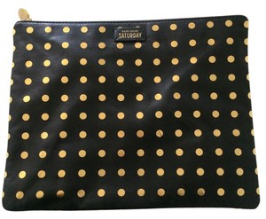 Kate Spade Lamb Leather Saturday Black with Metallic Dots Clutch