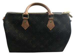 Louis Vuitton Speedy 30 Leather Handbag Satchel in Tan and brown