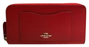 Coach NWT Coach Accordion Crossgrain Leather Zip Around Wallet Cardin Orange