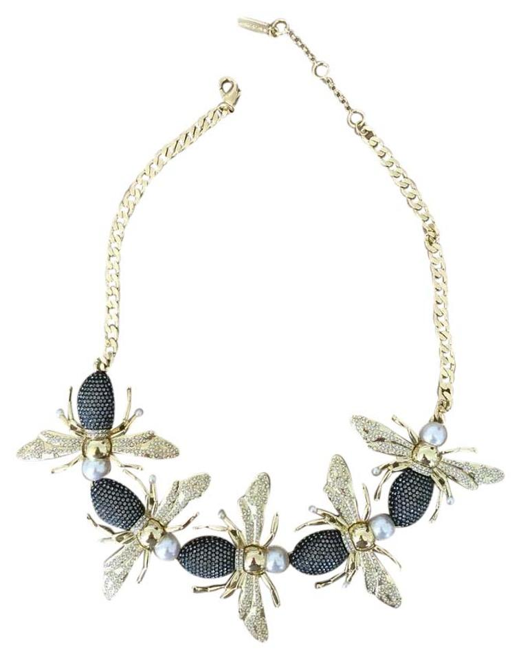 BaubleBar Gold Black & Pearl Bee Statement Necklace
