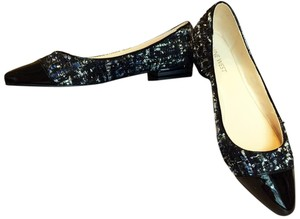 Nine West Textured Sequins Patent Toe Cute Blue/white/black Flats