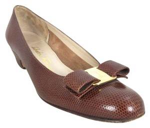 Salvatore Ferragamo Classic Embossed Leather Bows Brown Pumps