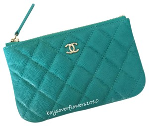 Chanel NIB 17C Turquoise Caviar Small O Case Cardholder Wallet Cosmetic Pouch