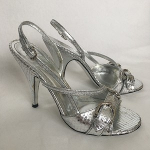 Burberry Exotics Snakeskin Silver Sandals