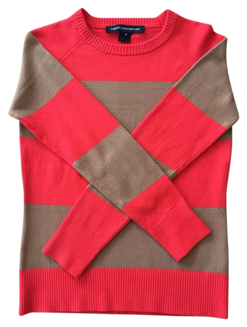 Preload https://img-static.tradesy.com/item/20999261/french-connection-striped-tan-and-red-sweater-0-1-650-650.jpg