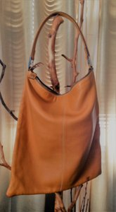 Fendi Leather Hobo Tote in Natural Tan