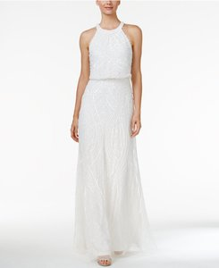 Adrianna Papell Sequined Blouson Halter Gown Wedding Dress