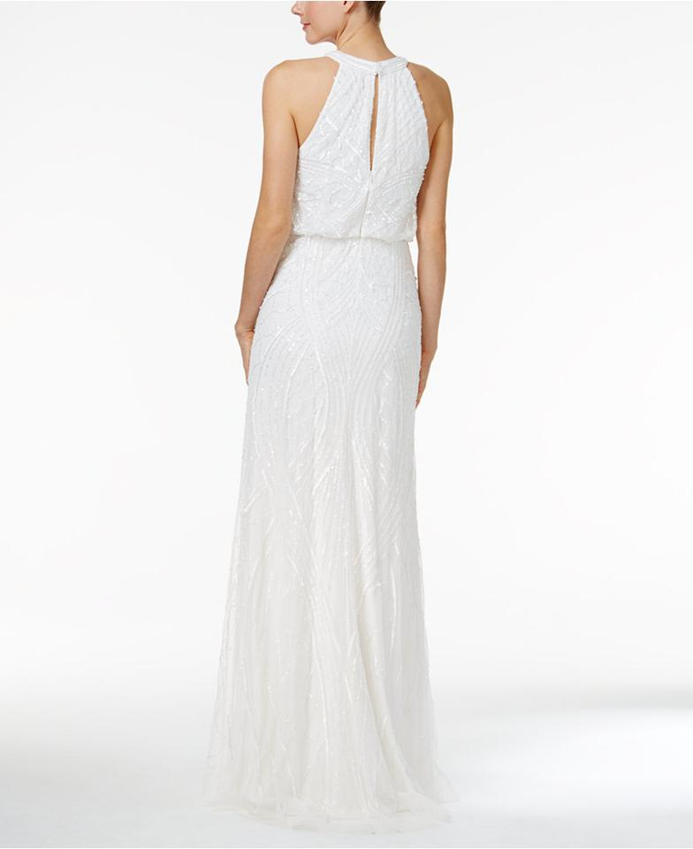 Adrianna Papell Ivory Sequined Blouson Halter Gown