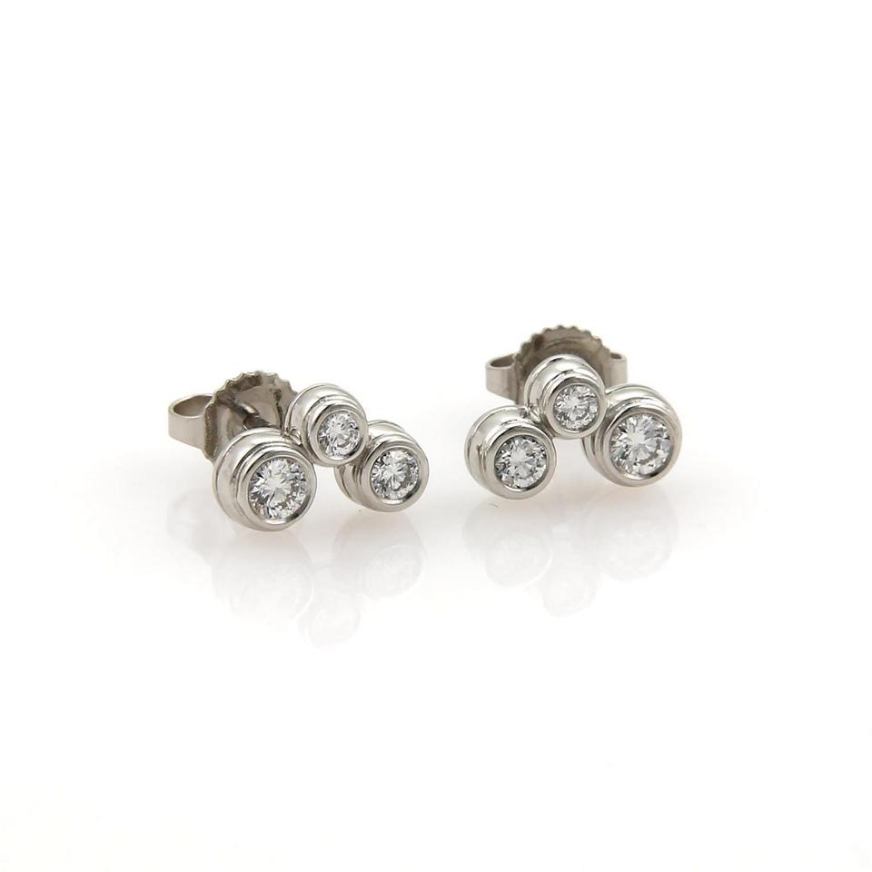 Tiffany Co Bubble Collection Diamond Platinum Stud Earrings