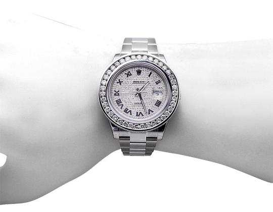 Rolex Mens 41 MM Custom Watch with 9.5 Ct Diamond and Pave Diamond Dial Image 2