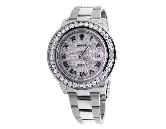 Rolex Mens 41 MM Custom Watch with 9.5 Ct Diamond and Pave Diamond Dial Image 3