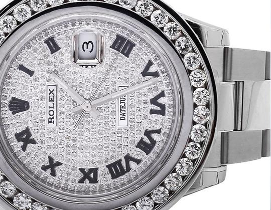 Rolex Mens 41 MM Custom Watch with 9.5 Ct Diamond and Pave Diamond Dial Image 6
