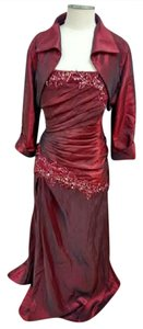 Jade Couture Cranberry Tafetta Style # K3387 Formal Bridesmaid/Mob Dress Size 14 (L)