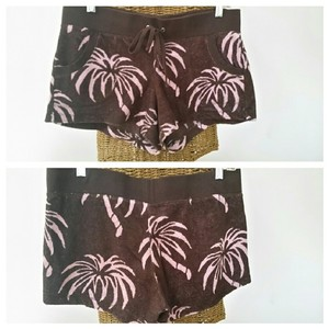 Juicy Couture Tropical Terry Palm Tree Mini/Short Shorts Brown Pink