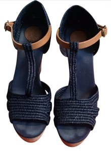 Tory Burch Navy and Tan Wedges