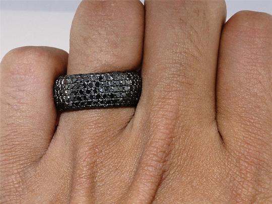 Other Black on Black PVD Diamond Round Cut Pave Wedding Band Ring 2.5 Ct Image 2