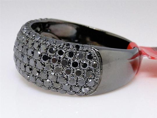 Other Black on Black PVD Diamond Round Cut Pave Wedding Band Ring 2.5 Ct Image 3