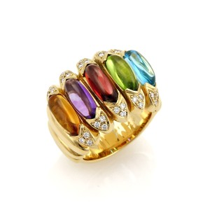 Modern Vintage Estate Diamond Multicolor Gems 18k Yellow Gold Large Band Ring