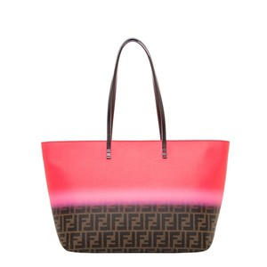 Fendi Ombre Canvas Leather Tote in Pink
