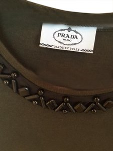 Prada Embellished T Shirt Army Green