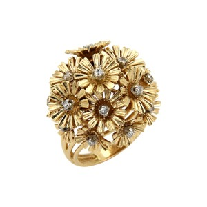 Modern Vintage Diamond Movable Cluster Spring Flower Ring in 18k Yellow Gold