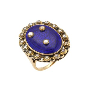 Other Antique 14k Yellow Gold Seed Pearls Blue Enamel Large Oval Ring