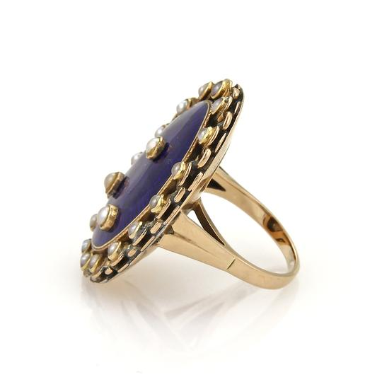 Other Antique Seed Pearls Blue Enamel 14k Gold Ring Image 1