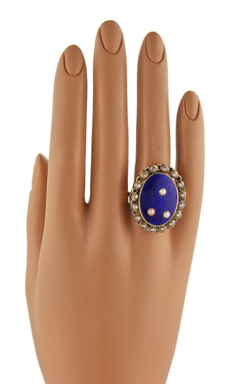 Other Antique Seed Pearls Blue Enamel 14k Gold Ring Image 3