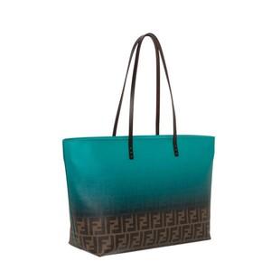Fendi Leather Teal Turquoise Tote in Green