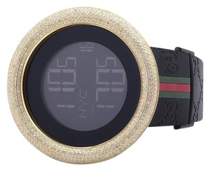 Gucci Mens I Gucci Digital Yellow Case Full Diamond Watch 7.5 Ct YA114207