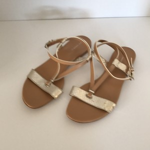 Devi Kroell Tan and Gold Sandals