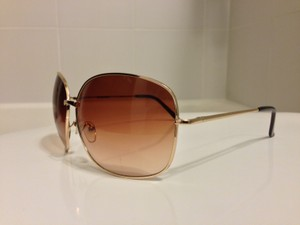 Forever 21 Oval Square Brown Sunglasses with Gold Frames