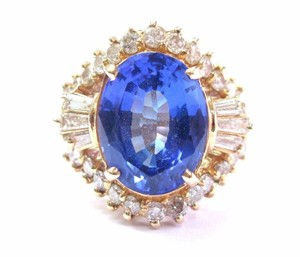 Other Fine Oval Tanzanite Diamond 14Kt Yellow Gold Solitaire W Accent Ring 6