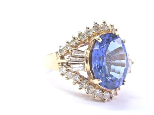 Other Fine Oval Tanzanite Diamond 14Kt Yellow Gold Solitaire W Accent Ring 6 Image 1