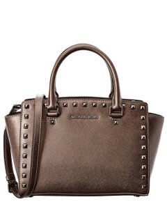 Michael Kors Selma Medium Leather Metallic Satchel in Cinder