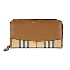 Burberry Elmore Horseferry Check and Leather Zip-Around Wallet